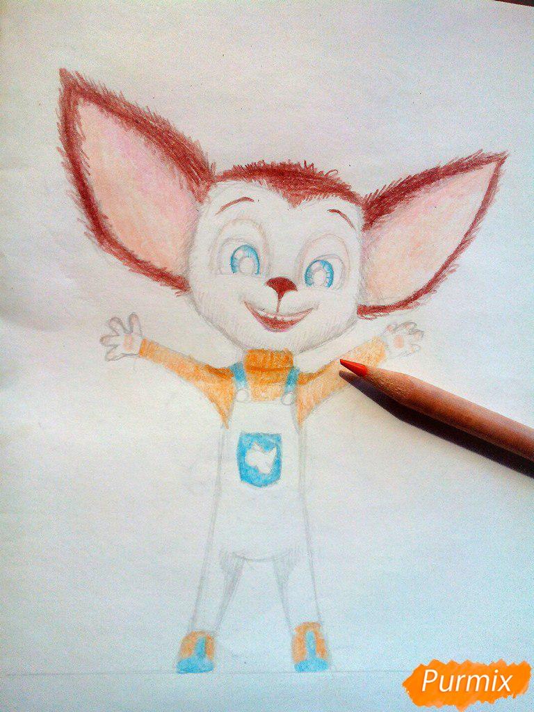 Рисуем Малыша из мультфильма Барбоскины цветными карандашами - шаг 9