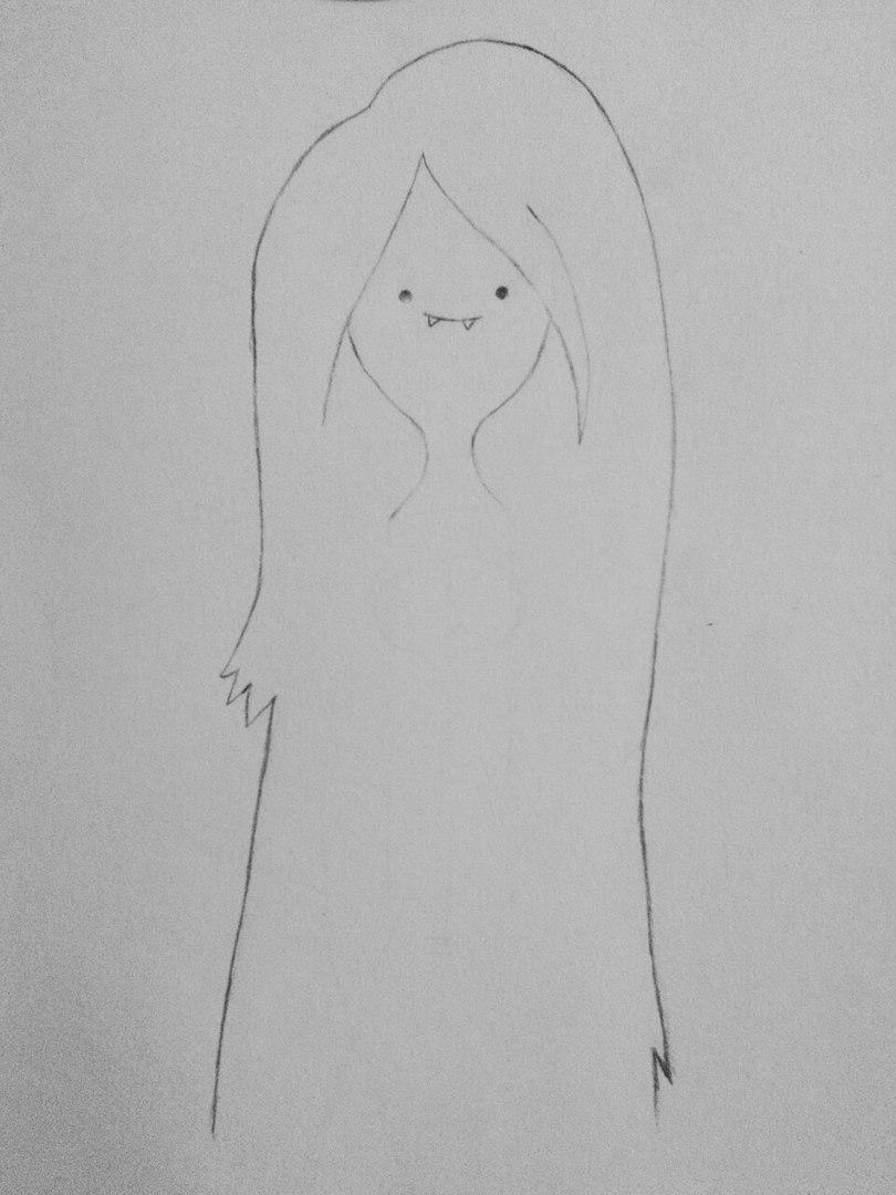 Как нарисовать Марселин из Время приключений карандашами поэтапно - шаг 3