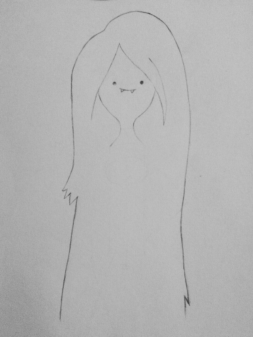 Рисуем Марселин из Время приключений карандашами - шаг 3