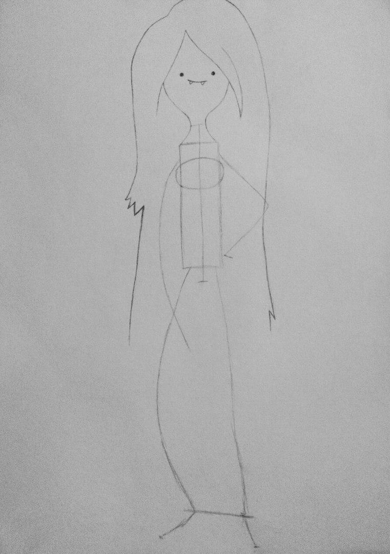 Как нарисовать Марселин из Время приключений карандашами поэтапно - шаг 4