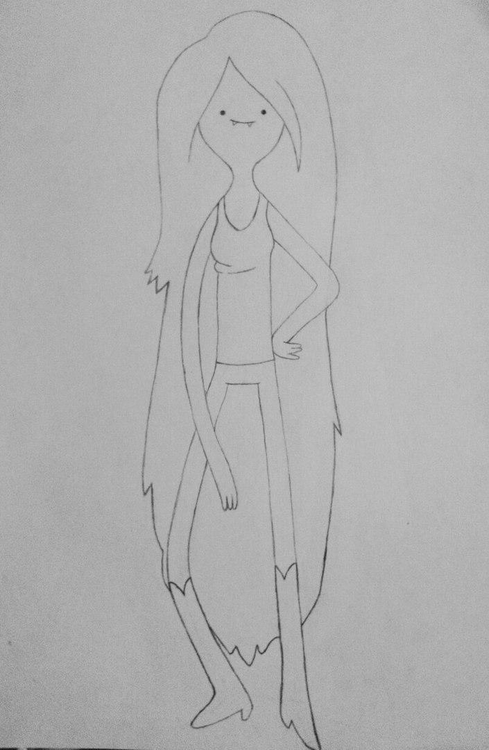 Как нарисовать Марселин из Время приключений карандашами поэтапно - шаг 6