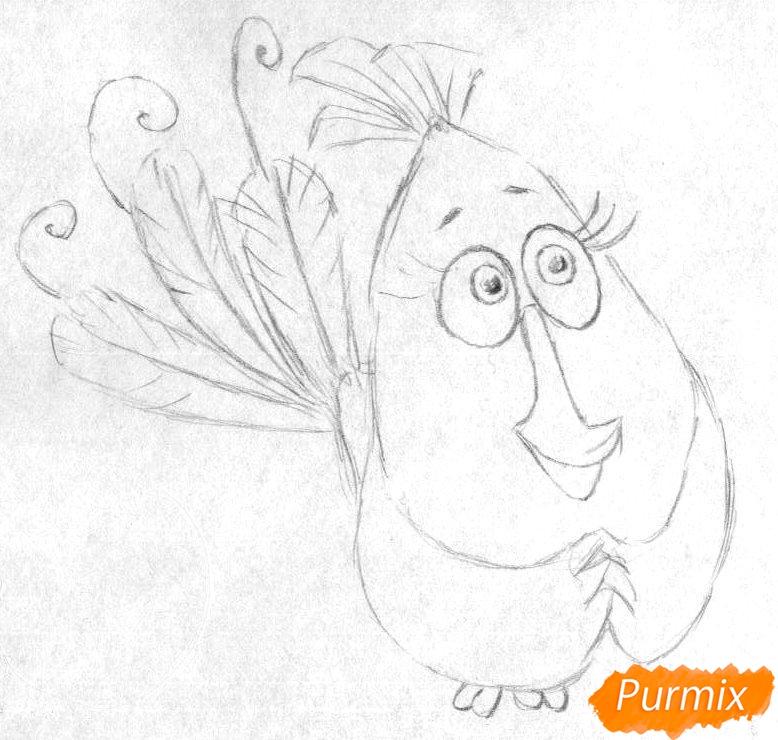Рисуем Матильду из Angry Birds в кино карандашами и ручкой - шаг 1