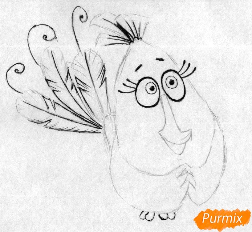 Рисуем Матильду из Angry Birds в кино карандашами и ручкой - шаг 2