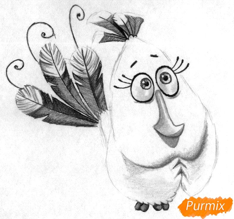 Рисуем Матильду из Angry Birds в кино карандашами и ручкой - шаг 3