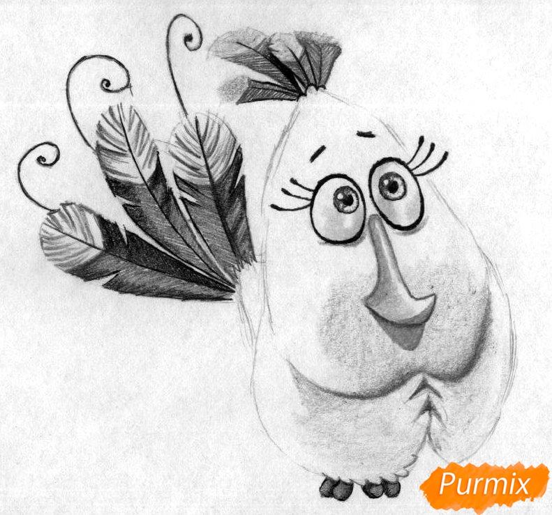Рисуем Матильду из Angry Birds в кино карандашами и ручкой - шаг 4