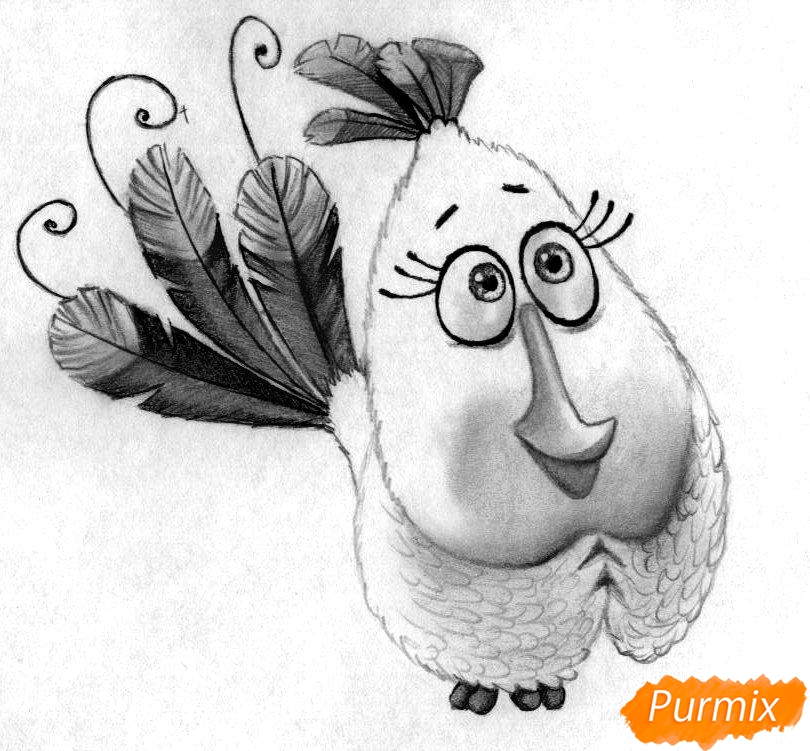 Как нарисовать Матильду из Angry Birds в кино карандашами и ручкой поэтапно