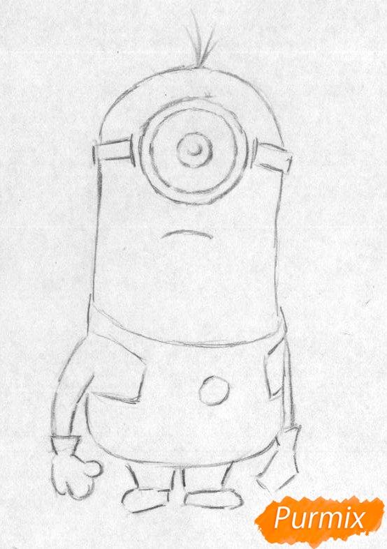Рисуем миньона Стюарта карандашами и чёрной ручкой - шаг 1