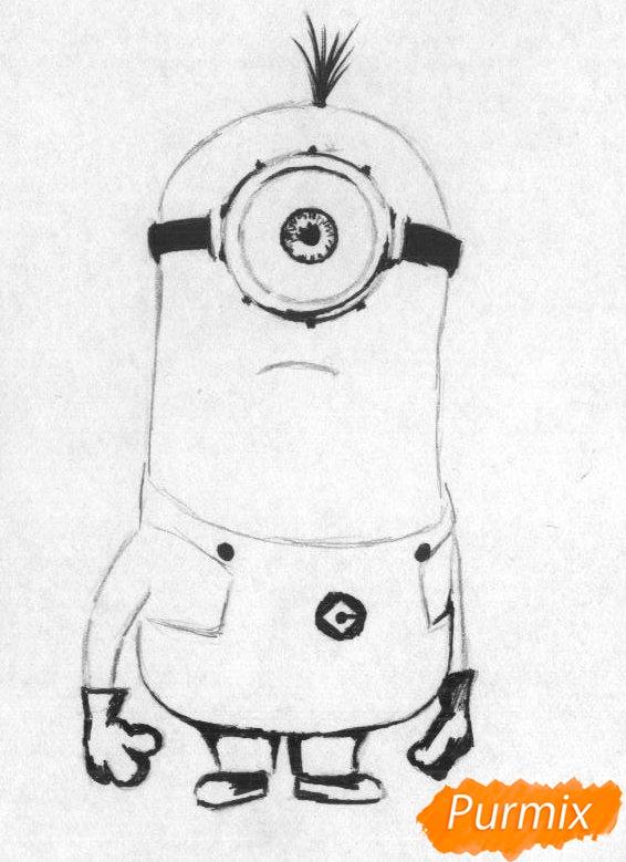 Рисуем миньона Стюарта карандашами и чёрной ручкой - шаг 2