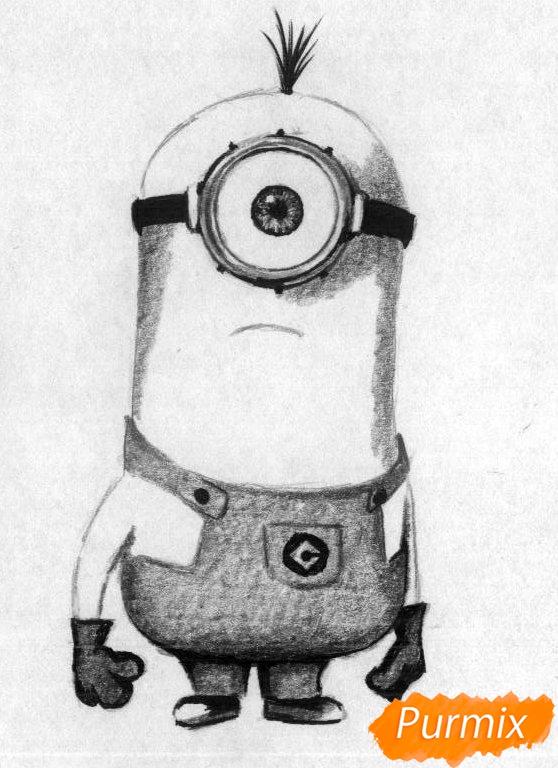 Рисуем миньона Стюарта карандашами и чёрной ручкой - шаг 3