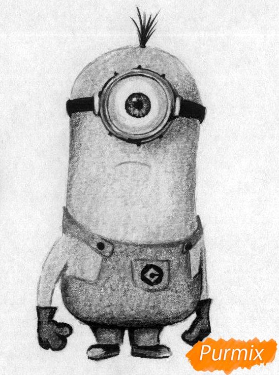Рисуем миньона Стюарта карандашами и чёрной ручкой - шаг 4