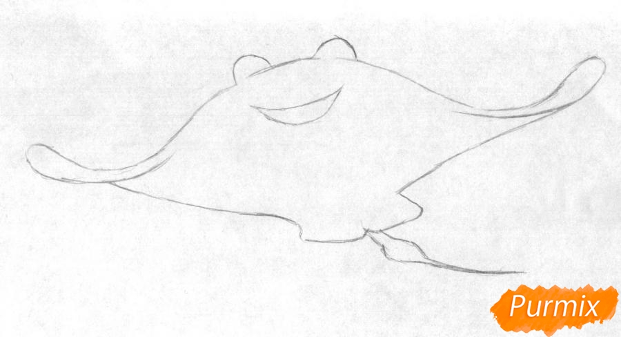 Рисуем Мистера Ската из мультфильма В поисках Дори - шаг 1