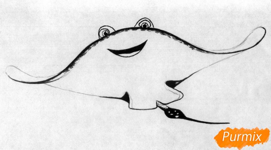 Рисуем Мистера Ската из мультфильма В поисках Дори - шаг 2