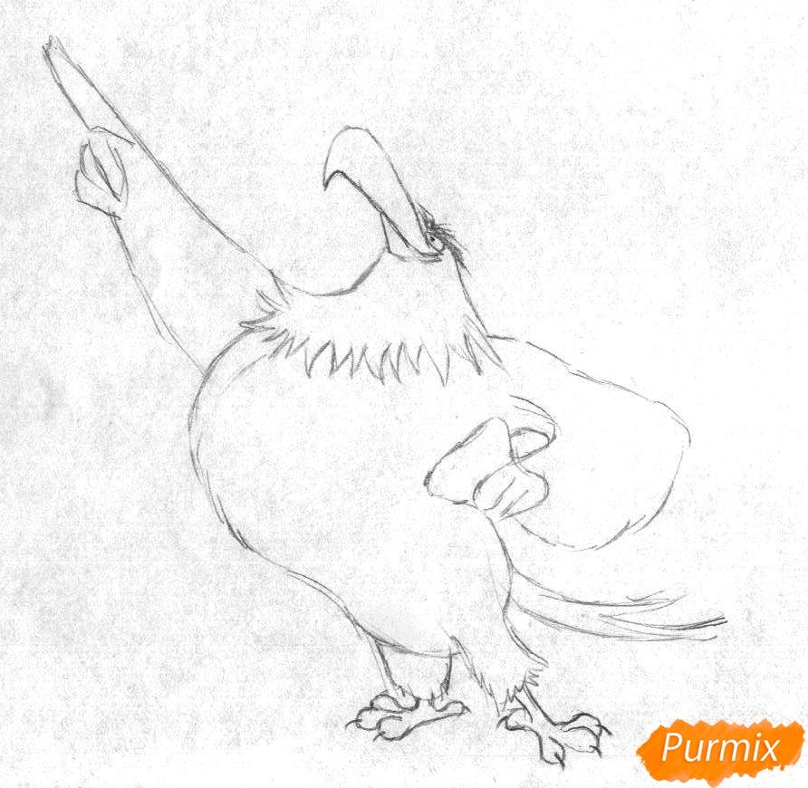 Рисуем Могучего Орла из Angry Birds в кино карандашами и ручкой - шаг 1