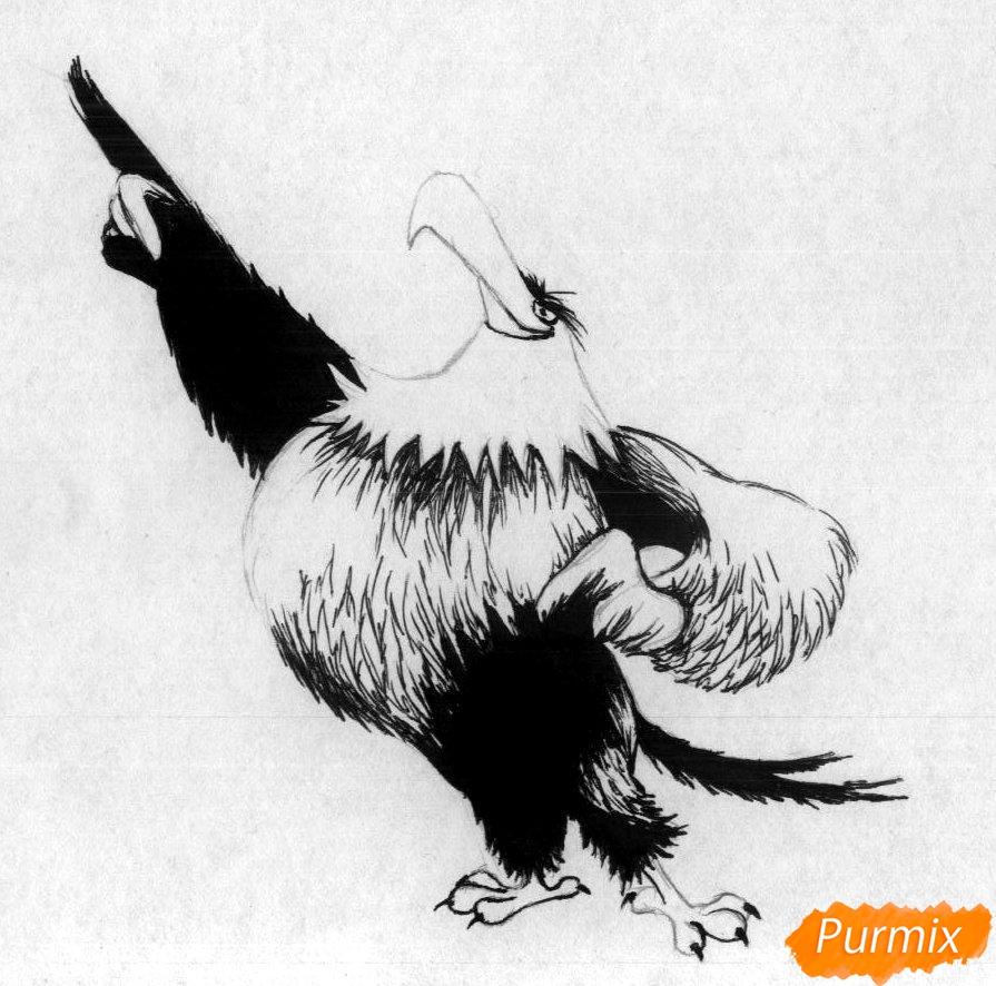Рисуем Могучего Орла из Angry Birds в кино карандашами и ручкой - шаг 2