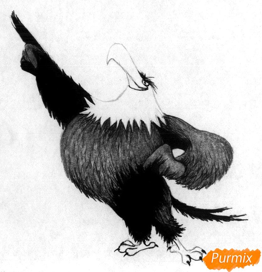 Рисуем Могучего Орла из Angry Birds в кино карандашами и ручкой - шаг 3