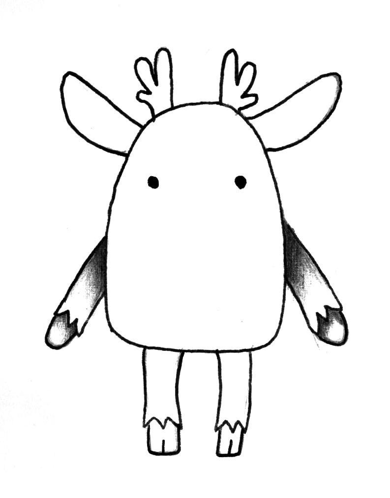 Рисуем мультяшного оленя - шаг 3