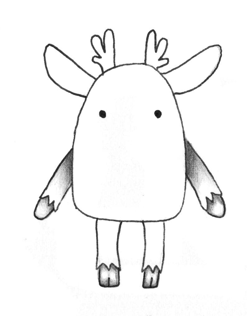 Рисуем мультяшного оленя - шаг 4