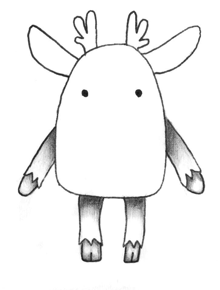 Рисуем мультяшного оленя - шаг 5