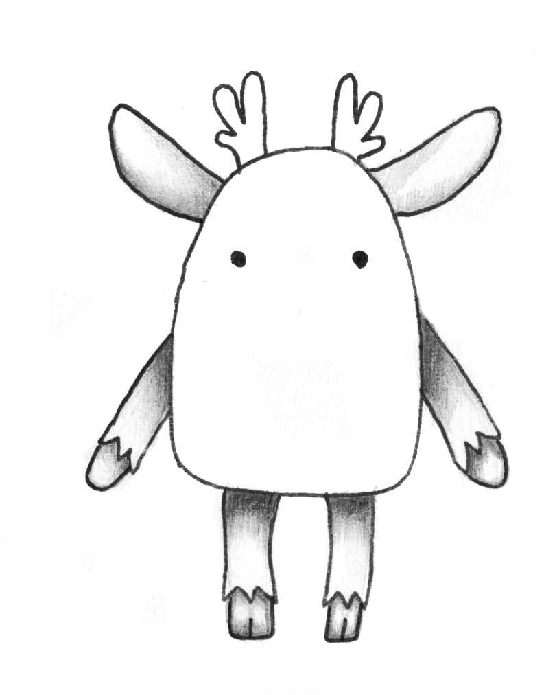 Рисуем мультяшного оленя - шаг 6