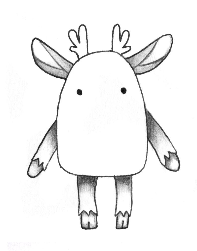 Рисуем мультяшного оленя - шаг 7