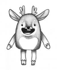 Как нарисовать мультяшного оленя поэтапно