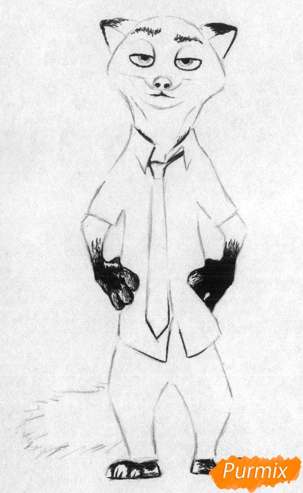 Рисуем Ник Уайлд из Зверополиса карандашами и ручкой - шаг 2