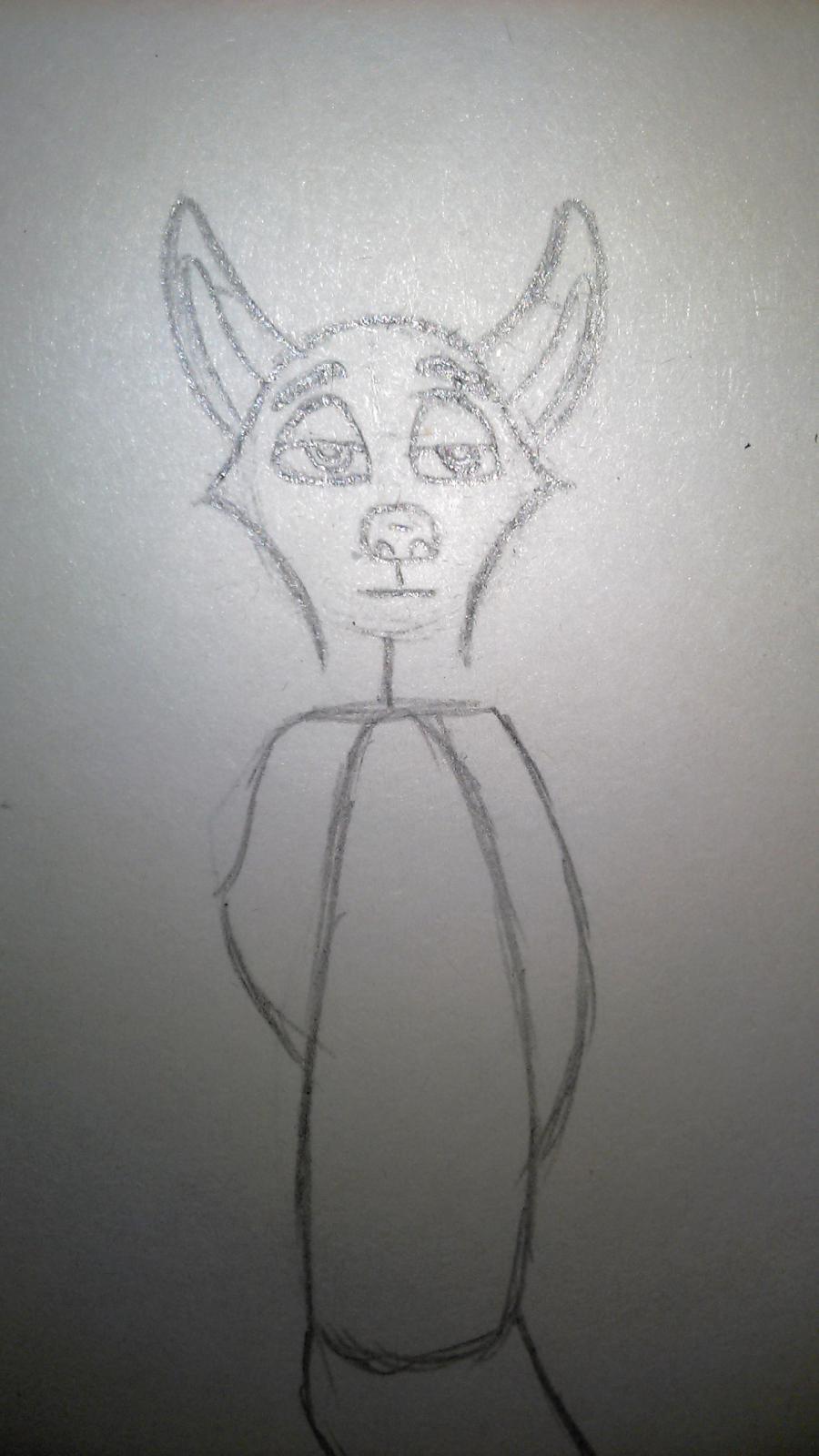 Рисуем Ника Уайлда цветными карандашами - шаг 2