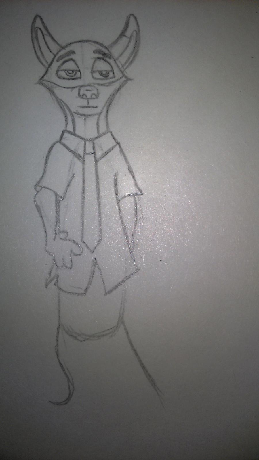 Рисуем Ника Уайлда цветными карандашами - шаг 3