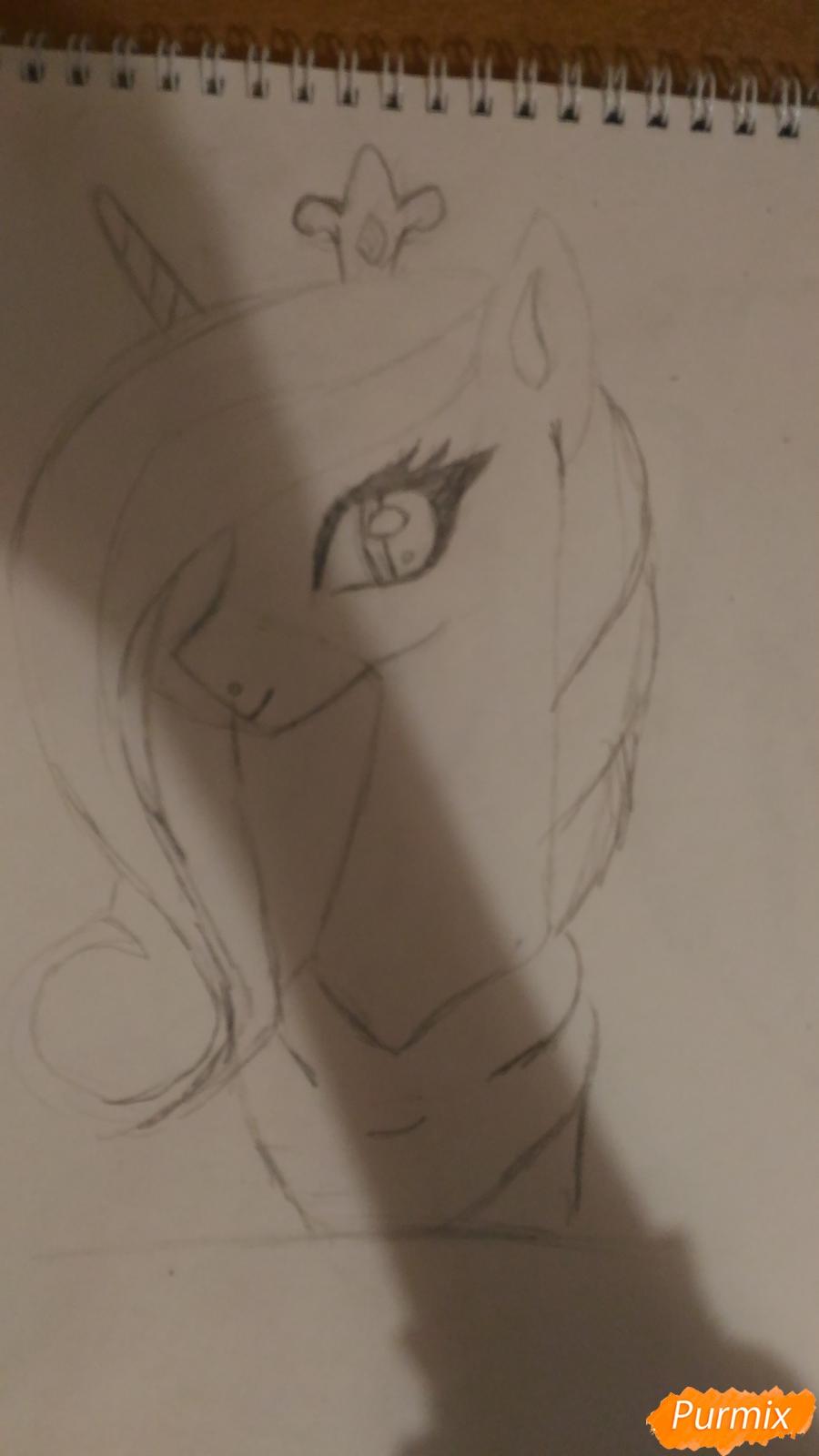 Рисуем пони принцессу Каденс из мультика My Little Pony - шаг 8