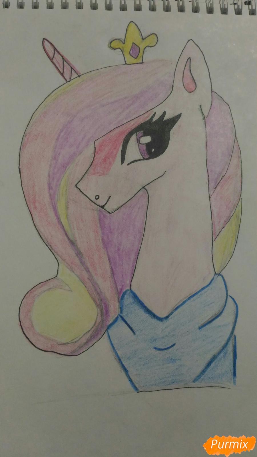 Рисуем пони принцессу Каденс из мультика My Little Pony - шаг 9