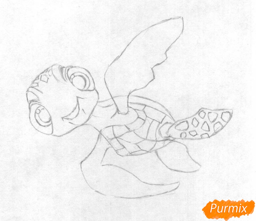 Как нарисовать Прыска из мультфильма В поисках Дори карандашом поэтапно - шаг 2