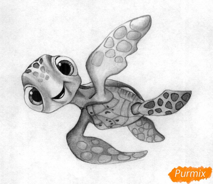 Как нарисовать Прыска из мультфильма В поисках Дори карандашом поэтапно