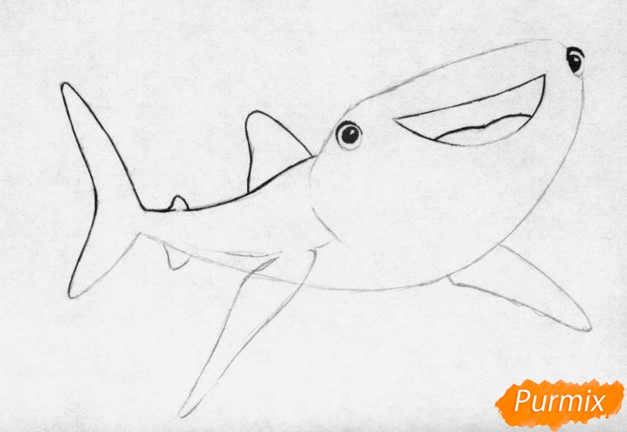 Рисуем Судьбу из мультфильма В поисках Дори - шаг 2