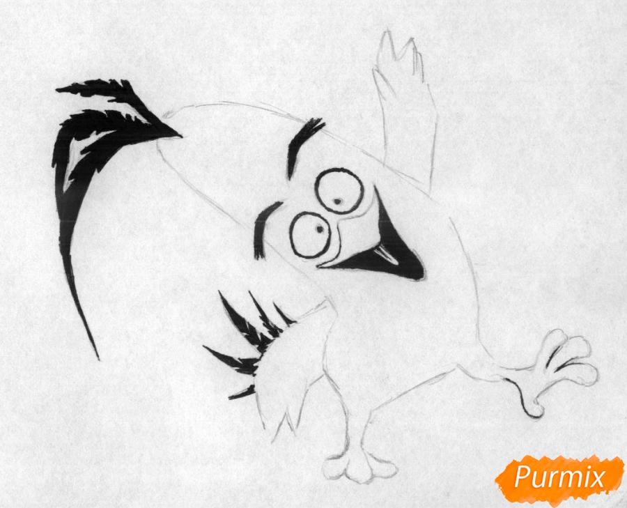 Как нарисвоать Чака из Angry Birds в кино карандашами и ручкой - шаг 2