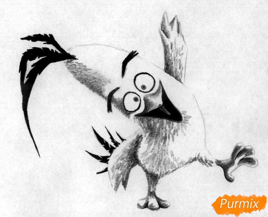 Как нарисвоать Чака из Angry Birds в кино карандашами и ручкой - шаг 3