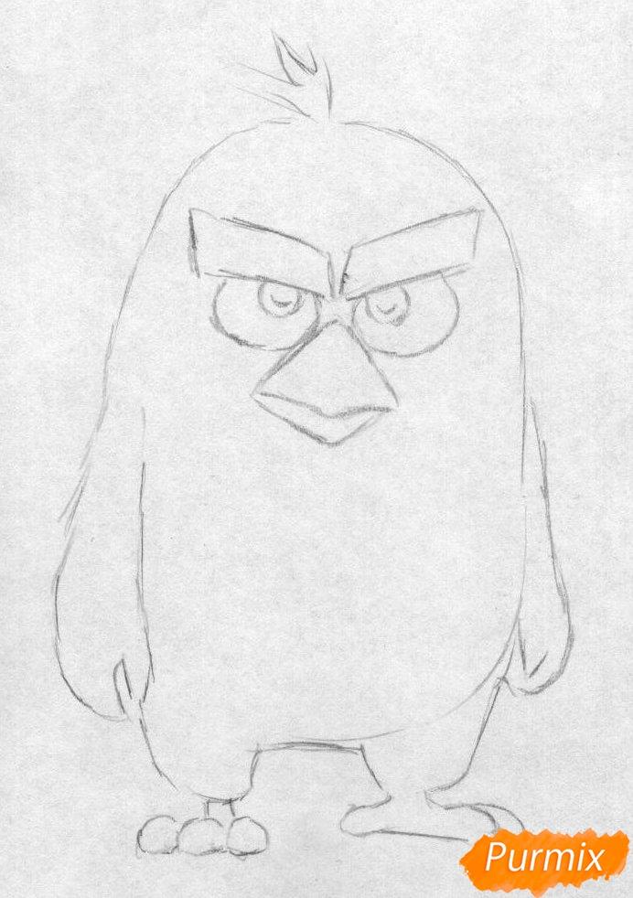 Рисуем Реда из Angry Birds в кино карандашами и ручкой - шаг 1