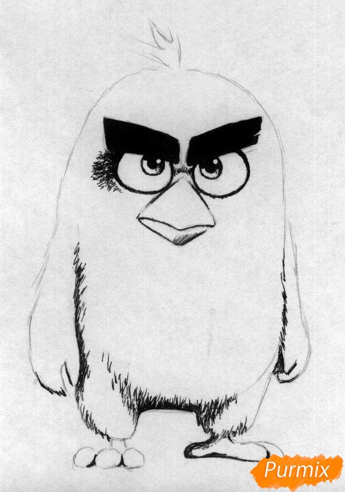 Рисуем Реда из Angry Birds в кино карандашами и ручкой - шаг 2