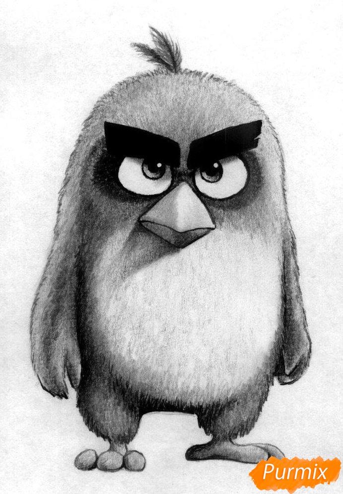 Как нарисовать Реда из Angry Birds в кино карандашами и ручкой поэтапно