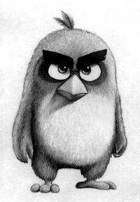 Как нарисовать Реда из Angry Birds в кино поэтапно