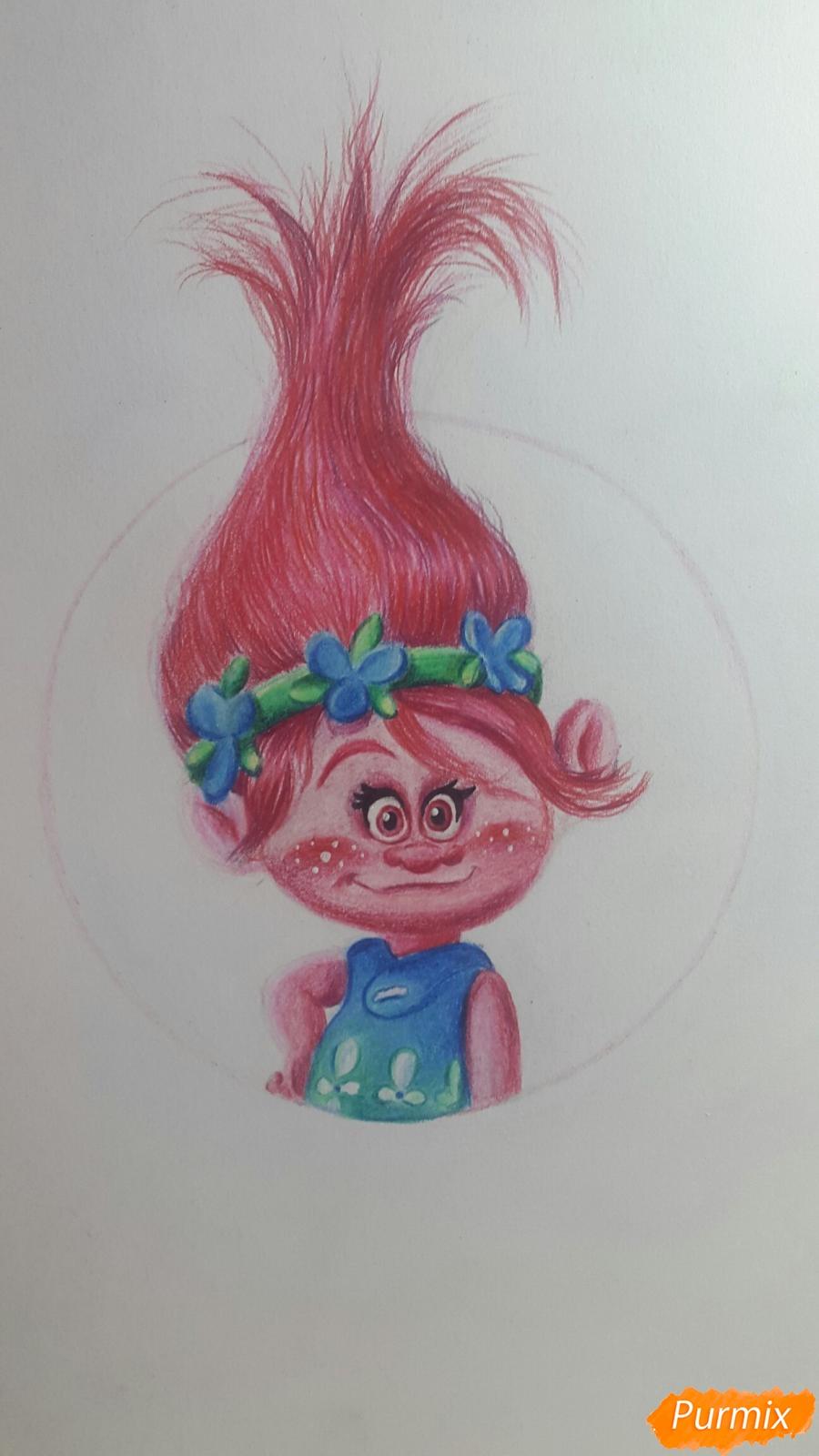 Рисуем Розочку из мультфильма Тролли - шаг 9