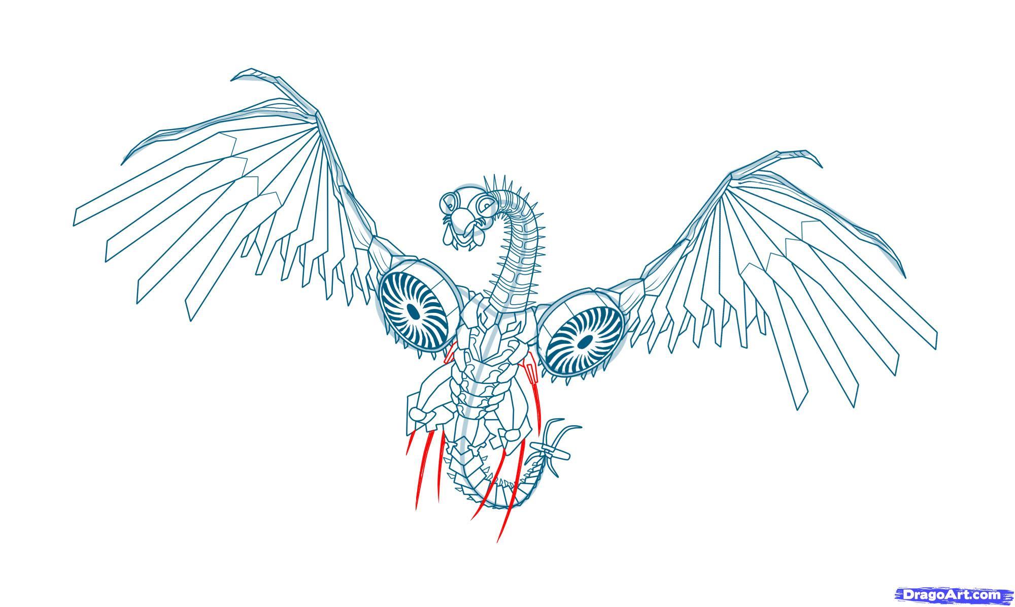 Как нарисовать Laserbeak карандашом поэтапно