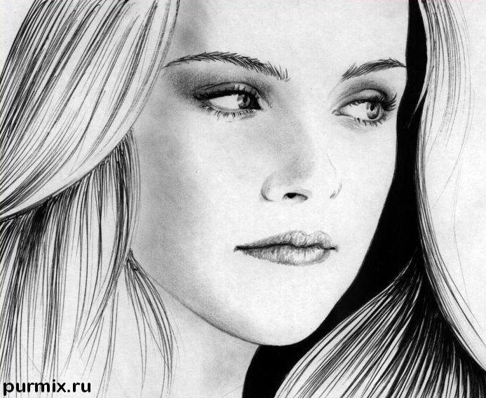 Рисуем  портрет Кристен Стюарт простым