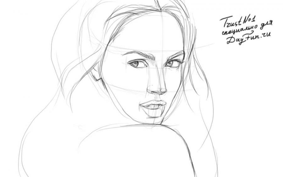 Рисуем Меган Фокс - шаг 3