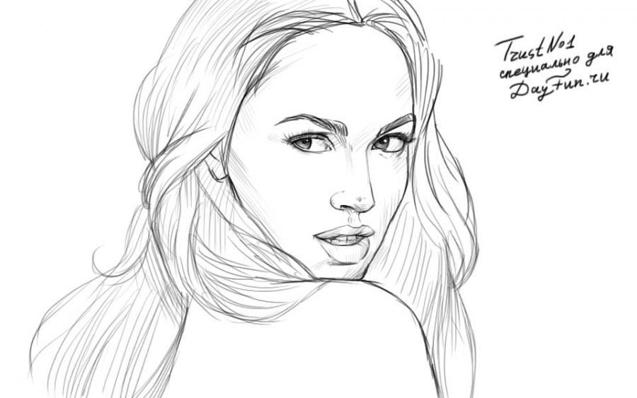 Рисуем Меган Фокс - шаг 4