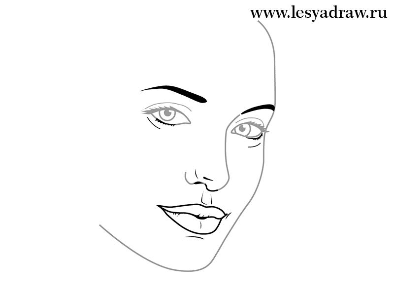 Как просто нарисовать портрет Анджелины Джоли - шаг 3