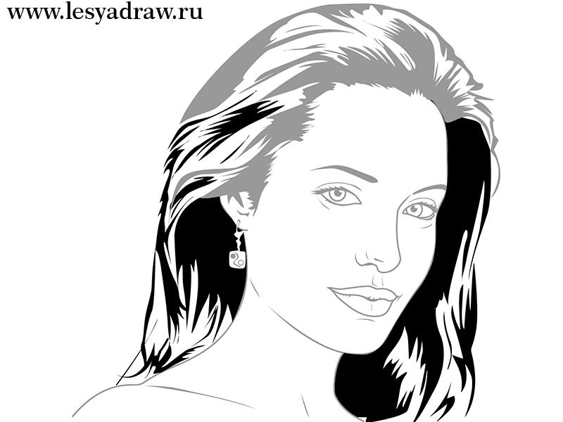 Как просто нарисовать портрет Анджелины Джоли - шаг 5