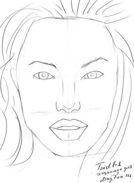 Рисуем портрет Анджелины Джоли - шаг 6
