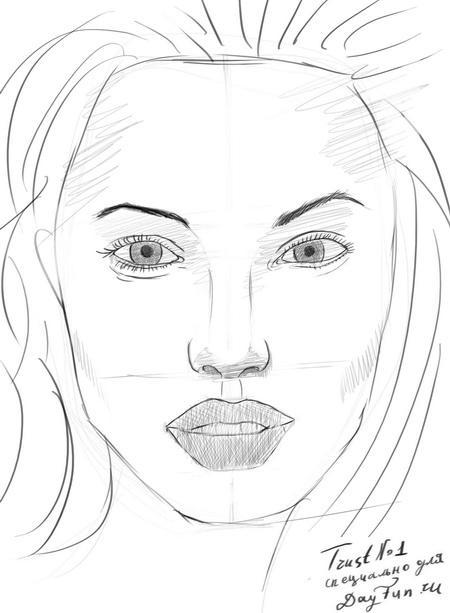 Рисуем портрет Анджелины Джоли - шаг 7