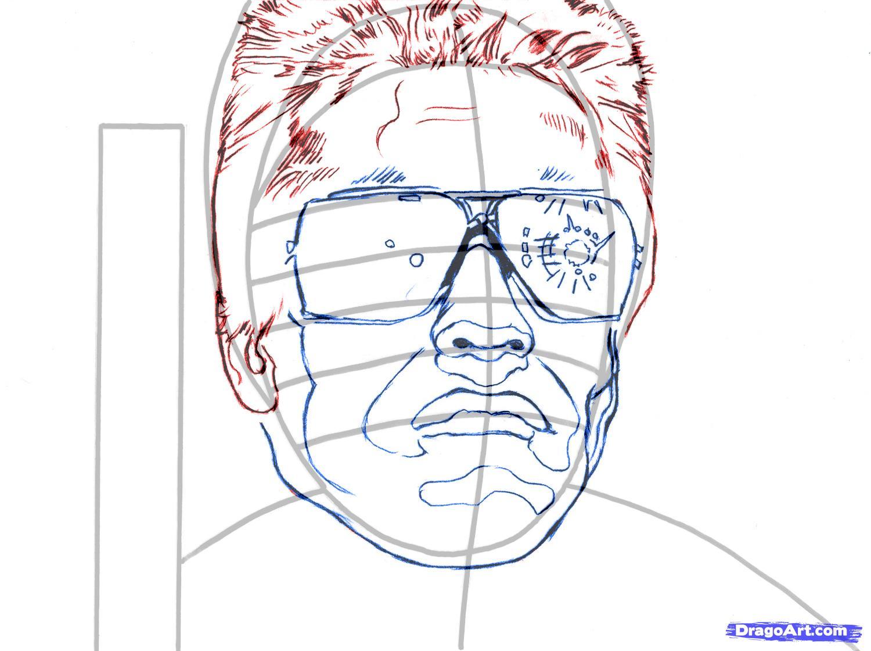 Рисуем портрет Арнольда Шварценеггера из Терминатора
