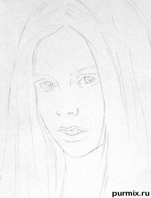Рисуем портрет Аврил Лавин простым